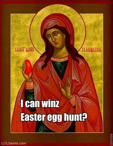 iz red, matches mai dress - Mary Magdalene with Egg
