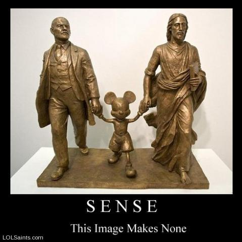 Sense - this image makes none - Mickey Jesus Lenin Bronze