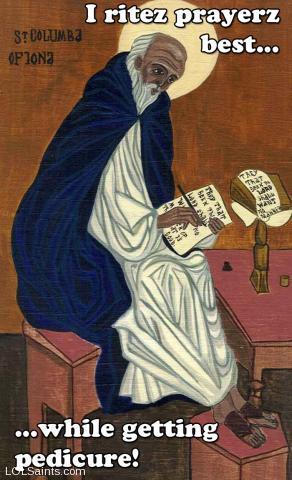 St. Columba - I writes best while getting pedicure!