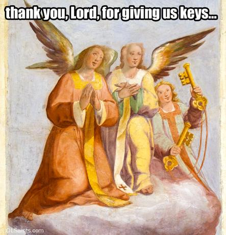 Angels thank the Lord for giving them keys