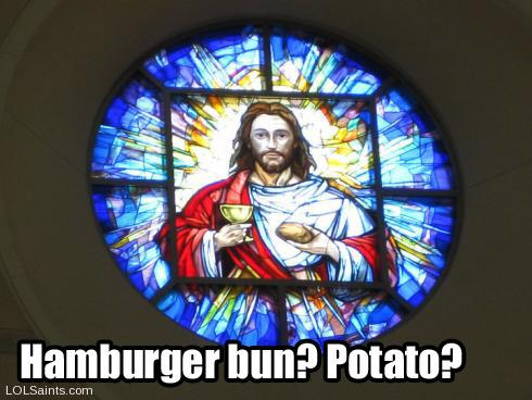 Jesus in Stained Glass - Hamburger or Potato