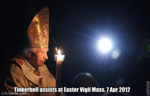 Tinkerbell assists at Easter Vigil Mass in Rome, April 7 2012
