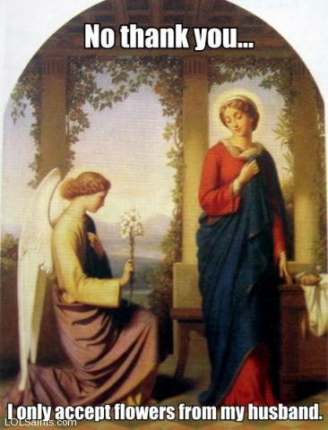 Angel Gabriel offers flowers to Mary, annunciation