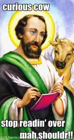 Saint Luke with Ox Cow Reading Gospel Over Shoulder