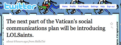 The next part of the Vatican's social networking plan will be introducing LOLSaints.